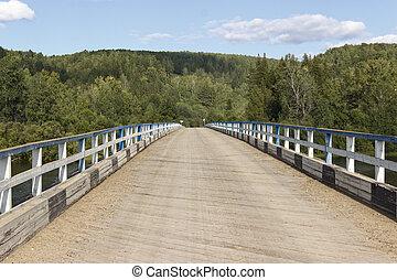 été, pont, jour, sur, petit, bois, rivière