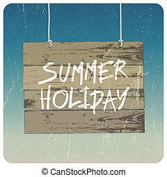 été, poster., vecteur, vacances
