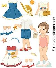 été, poupée, papier, girl, gosse, vêtements