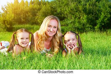 été, pré, famille, jumeau, mère, soeurs, herbe, enfants, heureux