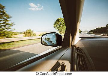 été, pré, voiture, countryside., fenêtre, champ, route rurale, vue