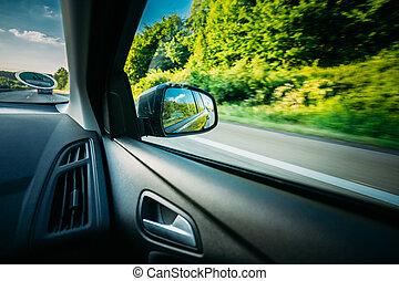 été, pré, w, voiture, countryside., champ, route rurale, vue