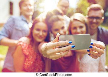 été, prendre, smartphone, amis, selfie