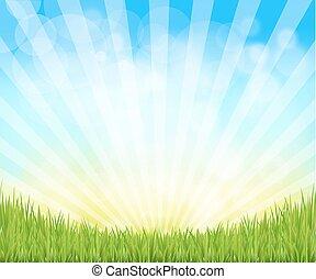 été, printemps, fond, nature