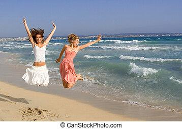 été, printemps, jeune, vacances, coupure, femmes échouent, ou, heureux