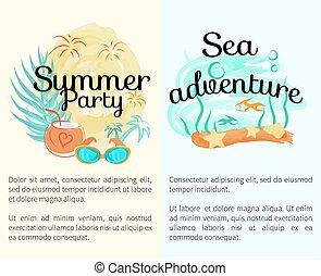 été, promotionnel, aventure, mer, fête, affiches
