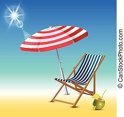 été, réaliste, illustration, arrière-plan., vecteur, temps, vacances