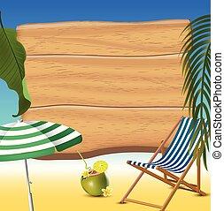 été, réaliste, illustration, arrière-plan., vecteur, temps, vacances, plage