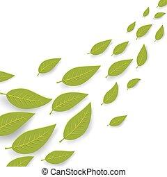 été, résumé, couler, space., vecteur, arrière-plan vert, copie, feuilles