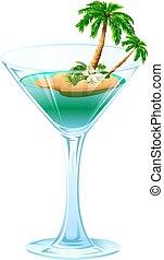 été, rafraîchissant, cocktail, île, arbre, exotique, paume