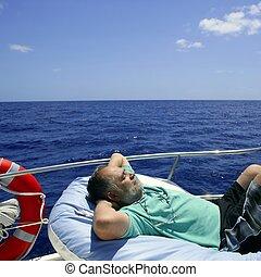 été, repos, marin, personne agee, avoir, bateau, homme
