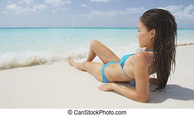 été, reposer, séduisant, fetes, vacances plage, pendant, ...