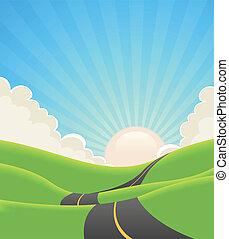 été, route, bleu, paysage
