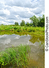 été, russie, paysage, lac