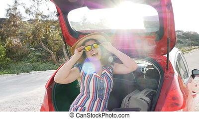 été, séance femme, voiture, voyage, vacances, coffre