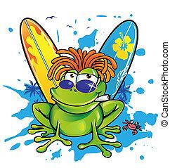 été, s, jamaïquain, dessin animé, grenouille