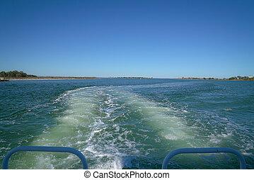 été, sailing., concept, vacances, aller, pendant, vacances, bateau