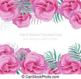 été, salutation, illustration, réaliste, délicat, vector., floral, tropique, carte