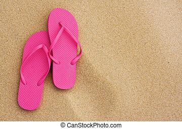 été, sandales, vacances plage, fond