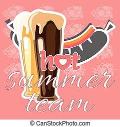 été, saucisse, équipe, bière, chaud, temps