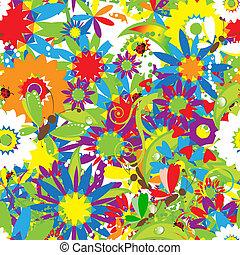 été, seamless, day., conception, fond, floral, ton