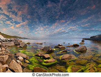 été, seascape., lever soleil coloré