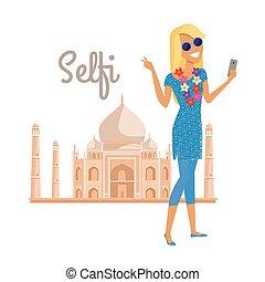 été, selfie, femme, inde, vacances