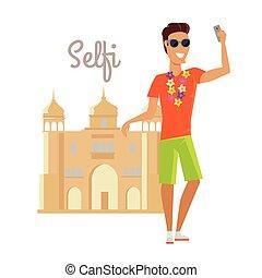été, selfie, inde, vacances, homme