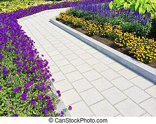 été, sentier, fleurir, jardin, carrelé