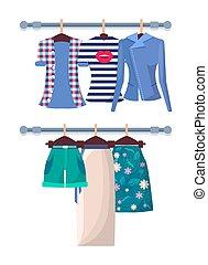 été, short, affiche, mode, mode, chemises