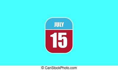 été, sien, 15th., 15, année, mois, animation., assemblé, 2d, parts., feuille, composant, calendrier, juillet, jour, concept