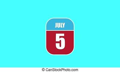 été, sien, année, mois, animation., 5, 5th., 2d, assemblé, parts., feuille, composant, calendrier, juillet, jour, concept