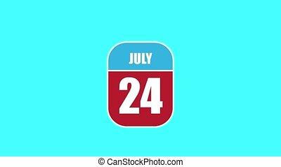 été, sien, année, mois, animation., assemblé, 24, 2d, feuille, parts., 24th., composant, calendrier, juillet, jour, concept