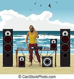 été, sien, dj, party:, équipement, danse, ensemble, music., afro, homme