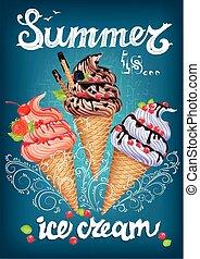 été, signe, crème, glace, affiche