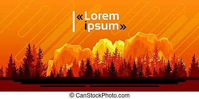 été, silhouette, montagne, ciel, bois, forêt, paysage