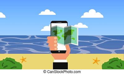 été, smartphone, ecommerce, vacances, temps