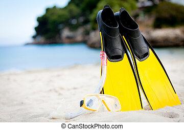 été, snorkelling, nageoires, masque, jaune, plage