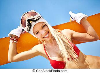 été, snowboarder