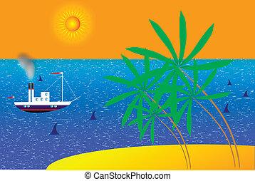 été, soleil, arbre, vecteur, paume, mer, plage