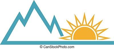 été, soleil, conception, aventure, logo, mountain.