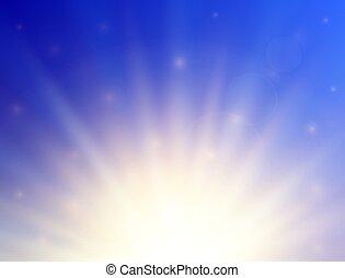 été, soleil, flare., illustration, lentille, arrière-plan., vecteur, briller