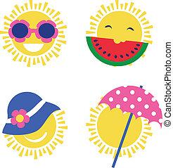 été, soleil, icons., fetes, quatre, heureux