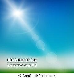 été, soleil, illustration, chaud, vecteur, fond
