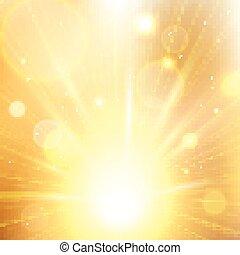 été, soleil, jaune, burst., lumière