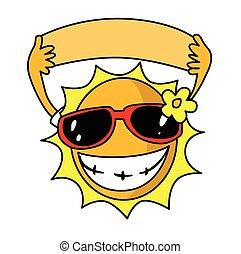 été, soleil, lunettes soleil, utilisation