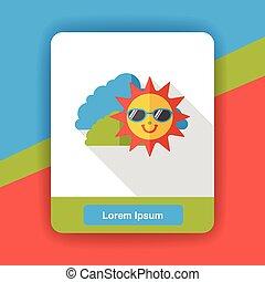 été, soleil, plat, icône