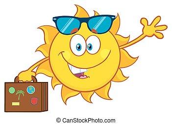 été, soleil, porter, valise