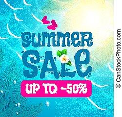 été, soleil, vente, leaves., arrière-plan., chaud, paume, vacances, mer, briller, nive, design.