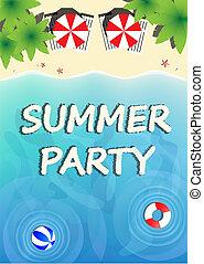 été, sommet, illustration, vecteur, gabarit, paradis, fête, plage, vue